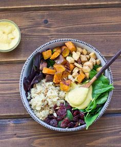 This Veggie Power Bowl topped with Cashew Honey Mustard Dressing is just what you need after a workout. It's power-packed with quinoa, sweet potatoes, dried tart cherries, spring greens, roasted tofu, and sunflower seeds that will keep you fueled and speed recovery.
