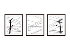 Urban Power Lines Digital Print Set - Black and White - Modern Wall Art -  Home Decor - Spring Summer - Man Cave Decor
