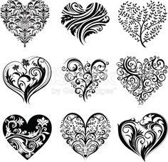 'Set of 9 tattoo hearts, vector image.'