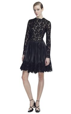 Look 48 - Lace Bodice Leather Long Sleeve Dress by Valentino | Moda Operandi.com