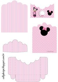 Minnie with Pink stripes, Free Printable Candy Package Support.