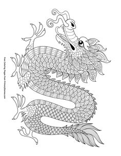 Free printable Chinese New Year Coloring Pages eBook for use in your classroom or home from PrimaryGames. Print and color this Chinese Dragon coloring page. Chinese Dragon Drawing, Chinese New Year Dragon, Chinese Dragon Tattoos, New Year Coloring Pages, Colouring Pages, Adult Coloring Pages, Coloring Books, Coloring Sheets, Chinese New Year Crafts For Kids
