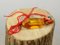 Genuine Baltic Amber Pendant, Cognac Amber, Irregular Shape, Red Thong by AmberGiftLT on Etsy