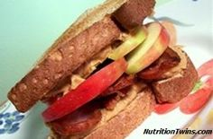 The perfect sweet and salty combo! Peanut Butter, Apple and Turkey Bacon Sandwich done healthy!  The entire family will love 'em!