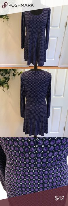 """Michael Kors Long Sleeved Dress, Size L Michael Kors Long Sleeved Dress. This beautiful authentic Michael Kors dress with an all over small geometric print is the perfect dress for just about any occasion you can imagine. Features a scoop neckline, fitted bodice and flowing skirt. Hidden back zipper closure. 95% Polyester, 5% Spandex. Measurements: Bust - 20"""" armpit to armpit, Waist - 18"""" side seam to side seam, Length - 35"""" from top of back neckline to hem, Sleeve Length - 18"""" from armpit…"""