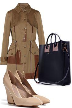 Brown trenchcoat with pink heels and black handbag via elle.com