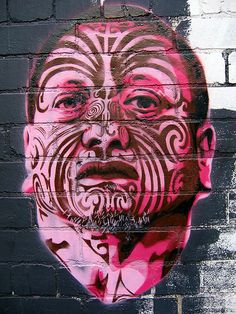 Maori activist,Tama Iti, New Zealand Graffiti Artwork, Street Art Graffiti, New Zealand Art, Nz Art, Sidewalk Art, Maori Art, Best Street Art, Portraits, Outdoor Art