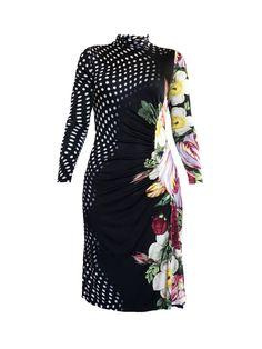 Polka Dot Print, Polka Dots, Fashion Deals, Women's Fashion, Roberto Cavalli, Flower Prints, Dresses With Sleeves, Long Sleeve, Clothes