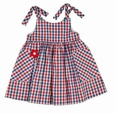Sleeveless Gingham Sundress, Red/Blue, Size by Florence Eiseman at Neiman Marcus.Florence Eiseman Girls Red / White / Blue Gingham Dress with Pockets and TiesKeep your little cutie stylish without sacrificing comfort by adding Florence Eiseman clothi Baby Girl Dress Patterns, Little Dresses, Little Girl Dresses, Baby Dress, Cute Dresses, Girls Dresses, Toddler Outfits, Kids Outfits, Baby Frocks Designs