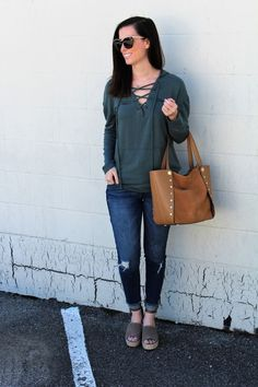 Lace-up Hoodie + Distressed Jeans for Spring || Beautifully Elegant Blog