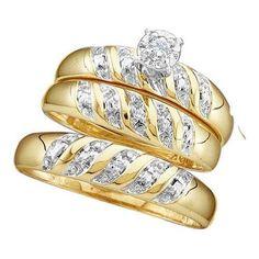 10KT Yellow Gold 0.07CTW DIAMOND ROUND CENTER TRIO SET