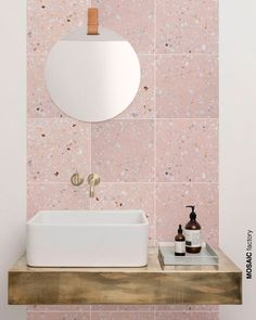 terrazo flooring Light pink terrazzo tile on bathroom wall vanity backsplash. The new and trendy terrazzo collection Marble 5 from Mosaic del Sur comes in pastel colours with small sparse white marble pieces for a clean fresh look Marble Bathroom, Bathroom Furniture, Bathroom Interior Design, Trendy Bathroom, Terrazzo, Terrazzo Tile, Pink Bathroom Tiles, Pink Bathroom, Bathroom Wall