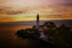 Portland Headlight Sunrise by Robert Goulet