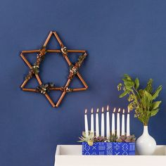 Adorn Your Mantle With This DIY Copper Star of David Hanukkah Wreath