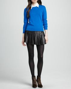 Roney Elbow-Patch Sweater & Box-Pleated Leather Skirt by Alice + Olivia at Neiman Marcus.
