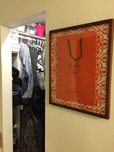 Framed Hermes Bag. I used paper from World Market as the back ground. Hanging by my closet