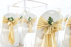 Champagne Wedding Themes, Gold Wedding Theme, Gold Wedding Decorations, Table Decorations, Wedding Chair Sashes, Wedding Chairs, Gold Table Runners, Banquet Chair Covers