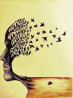 "Paulo Sergio Zerbato ~ ""Of Dreams"" Paulo Sergio, Birds Flying Away, Jolie Phrase, Try Your Best, Art For Art Sake, Tree Art, Art Photography, Illustration Art, Nature Illustrations"