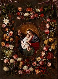 Jan Brueghel d. J.  and  Jan van Balen d. J., train. FLOWER WREATH IMAGE WITH HOLY FAMILY