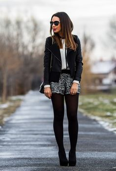 Black jacket white blosue sequin silver shorts black tights heels street fashion new years eve fashion