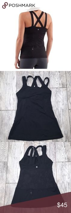 Lululemon Black Chatarunga Double Strap Tank Lace Rare Lululemon Chatarunga double strap lace tank. EUC with no signs of wear or damage. The lace pic was taken with a white wash feature to show detail, but the top is not faded at all. Removable cups. Moisture wicking. Could not find the size but I'm guessing it's a size 4. Bust 13.5in waist 12.5in length 23in; laying flat and Un-stretched lululemon athletica Tops Tank Tops
