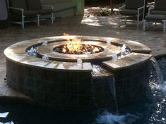 HPC has a beautiful way of combining fire and water to create something amazing! Diy Water Fountain, Indoor Water Fountains, Indoor Fountain, Fountain Ideas, Indoor Fire Pit, Outdoor Propane Fire Pit, Fire Pit Backyard, Fire Pit With Water Feature, Cheap Fire Pit