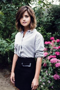 Round face side part bang long choppy bob or lob with light layers