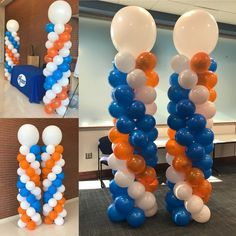 Balloon Banner, Letter Balloons, Balloon Columns, Mylar Balloons, Balloon Arch, 60th Birthday Balloons, Orange Balloons, Birthday Display, Balloon Bouquet