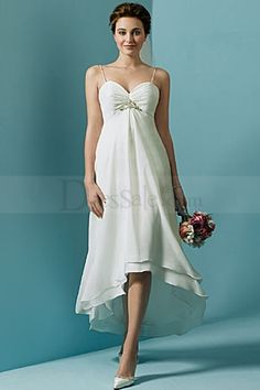 Wedding Dresses Pictures - A-Line High Low Sweetheart Empire Non-Strapless Spaghetti Strap Chiffon Artificial Silk Wedding Dress - Style Spagetti Strap Wedding Dress, Hi Low Wedding Dress, Informal Wedding Dresses, Pregnant Wedding Dress, Wedding Dresses With Straps, Tea Length Wedding Dress, Wedding Dresses Plus Size, Bridesmaid Dresses, Spaghetti Straps
