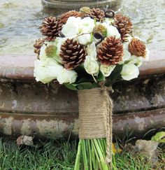 Pine Cone Wedding Bouquet - We love so many things about this bouquet - the pine cones, the rope handle, the fiddlehead ferns and the creamy white roses! White Roses Wedding, Rose Wedding Bouquet, Wedding Flowers, Bouquet Flowers, White Flowers, Christmas Wedding, Fall Wedding, Dream Wedding, Pinecone Bouquet