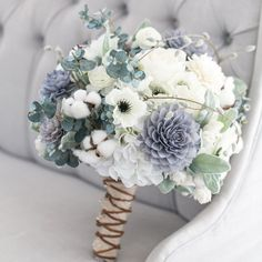 Wedding Bouquets Our grey, navy and cream bouquet is a rustic beauty. This stunning bouquet has a great combination of flowers that work seamlessly with each other. With a mix of silk and wooden flowers this bouquet w Floral Wedding, Wedding Colors, Wedding Flowers, Dusky Blue Wedding, Wedding Peach, Bouquet Bride, Bouquet Wedding, Rustic Bouquet, Winter Wedding Bouquets