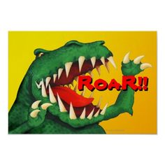 Small scary Dinosaur Poster ROAR!! by Paul Stickland for Dinosaur Store on Zazzle #dinosaurs