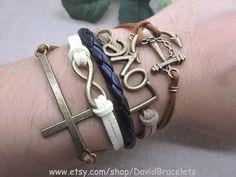 Retro anchor leather bracelet   Bronze alloy by DavidBracelets, $6.99