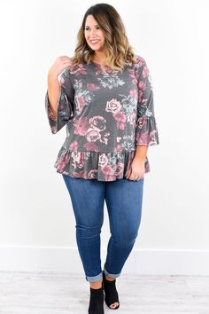 Say You Won't Let Go Charcoal Gray Floral Tunic - C1455CG