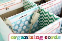Organized cords via I Heart Organizing