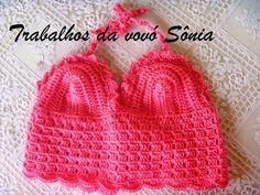 Trabalhos da vovó Sônia: Cropped infantil rosa Marina - crochê