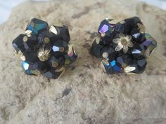Vintage AB Dark Green West Germany cluster Earrings clip-on