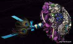 Custom Enchanted Rose Jeweled Flower and Brooch Bouquet by Blue Petyl  #wedding #bouquet