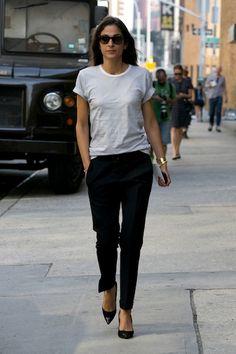 white tshirt (casual) + tapered silk blk pants (elegant)