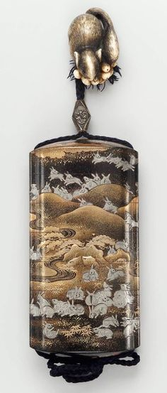 Six-case inro with design of hares in a landscape Japanese, Edo period, Late…