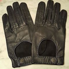 Mens Alfred Dunhill Perforated Lambskin Leather Driving Gloves Mint Large
