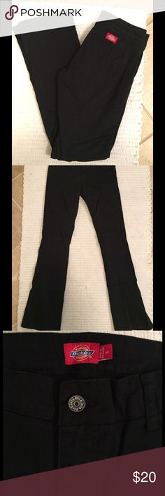 DICKIES Women Work Pants Slim Boot Size 5 Brand new, never worn DICKIES Women's Work Pant. Mid rise, very flattering and comfortable. I wear the next size up for work uniform and can honestly say they are legit. Stretch Twill fabric, slim boot cut legs. Real back pockets! No front pockets though. Dickies Pants Boot Cut & Flare