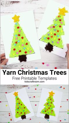 This SCRAP YARN CHRISTMAS TREE CRAFT is fabulous fun for little hands. It's a really easy Christmas craft for kids and comes with two FREE PRINTABLE CHRISTMAS TREE TEMPLATES to choose from. A simple Christmas tree craft with lots of scissor skill practice opportunities. #kidscraftroom #christmascrafts #kidscrafts #christmastrees, Christmastreecrafts #christmas #Yarncrafts #finemotorskills #scissorpractice #printable #printablecrafts