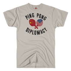 06a10ab2a HOMAGE Ping Pong Diplomacy Table Tennis Father's Day T-Shirt Father's Day T  Shirts,