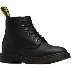 Dr. Martens Ali 6 Eye Boot Greasy Leather. Black Hiking BootsReal ...