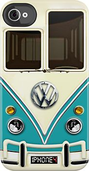 I love the design of this iPhone case. Not only does it accurately portray the vw bus, it does so without going into so much detail as an actual picture would. It has just enough detail so the viewer knows what they are looking at.// here's a better one kim