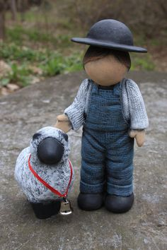 handmade Amish boy with sheep
