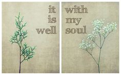 """It Is Well With My Soul, Modern, Fresh, Neutral Tones, Babys Breath, Evergreen, Set Of Two 8""""x10"""" Fine Art Prints"""