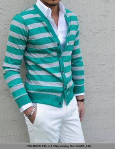 Teal & Grey Stripe Sweater with White Long Sleeve Shirt & Pants
