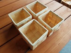 Set Four Square Baskets Woven Pine hand-made Square Baskets, Wooden Basket, Basket Weaving, Four Square, Unique Jewelry, Handmade Gifts, Pine, Vintage, Etsy